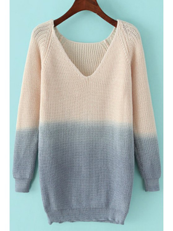 outfit Deep V Neck Ombre Color Sweater - GREY AND WHITE ONE SIZE(FIT SIZE XS TO M)