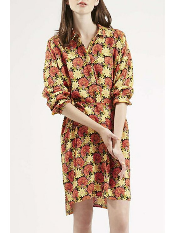 trendy Long Sleeve Full Floral Shirt Dress - COLORMIX S