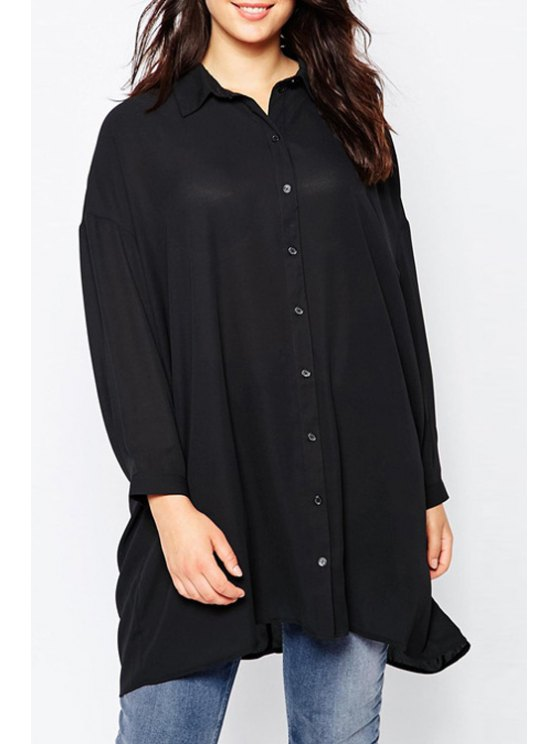 outfit Pure Color All Match Turn-Down Collar Shirt - BLACK S