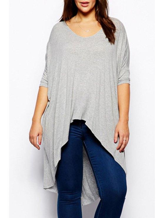 new Irregular Hem Round Collar Long Sleeves Pure Color T-Shirt - GRAY S