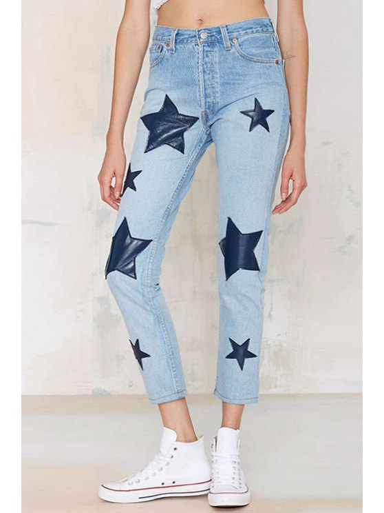 latest Blue PU Leather Star Patched Jeans - BLUE XS
