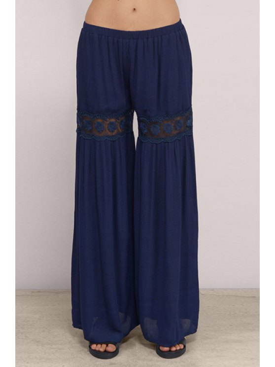new Lace Spliced Blue Women's Palazzo Pants - BLUE XS
