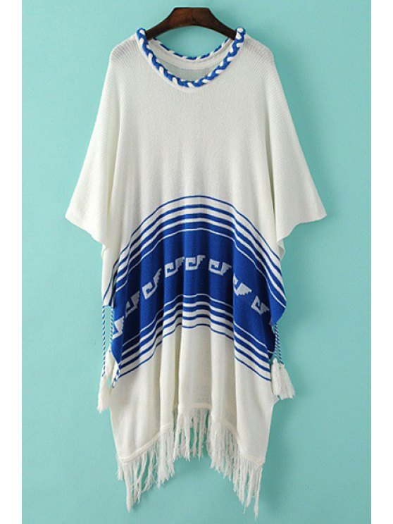 buy Braided Collar Striped Tassel Sweater - WHITE ONE SIZE(FIT SIZE XS TO M)