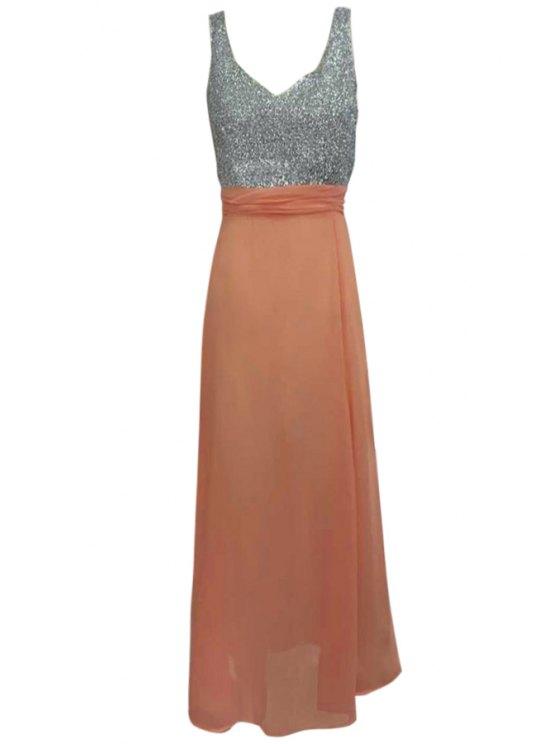 affordable Plunging Neck Hollow Back Glitter Dress - ORANGE S