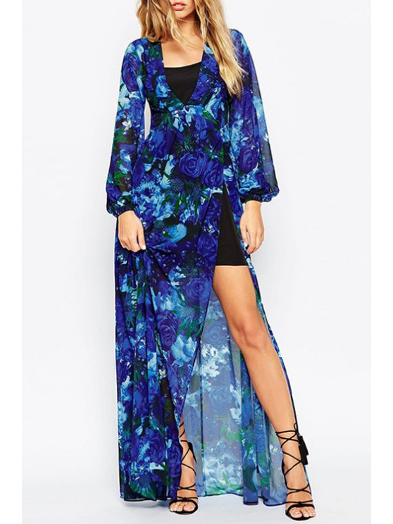 affordable Rose Print Plunging Neck Long Sleeves Maxi Dress - BLUE XS