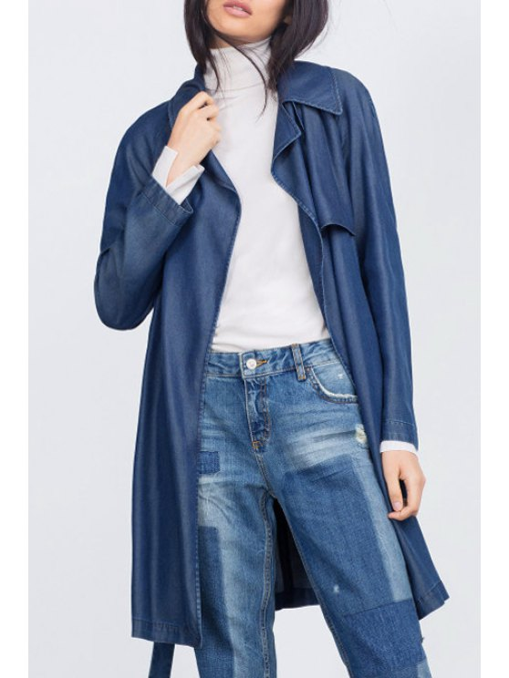 ladies Lapel Belted Chambray Trench Coat - BLUE S