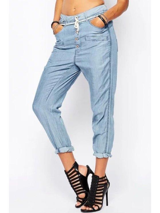 hot Light Blue Drawstring Harem Jeans - LIGHT BLUE S