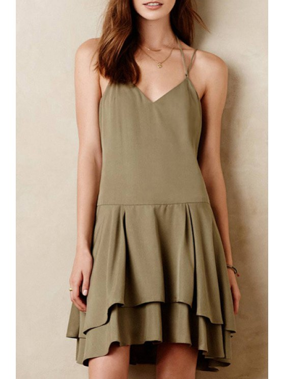 online V-Neck Braces Double Flounce Solid Color Dress - KHAKI XS