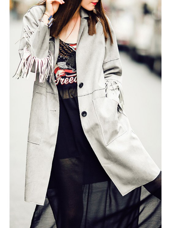 buy Gray Tassels Lapel Neck Long Sleeve Coat - GRAY S