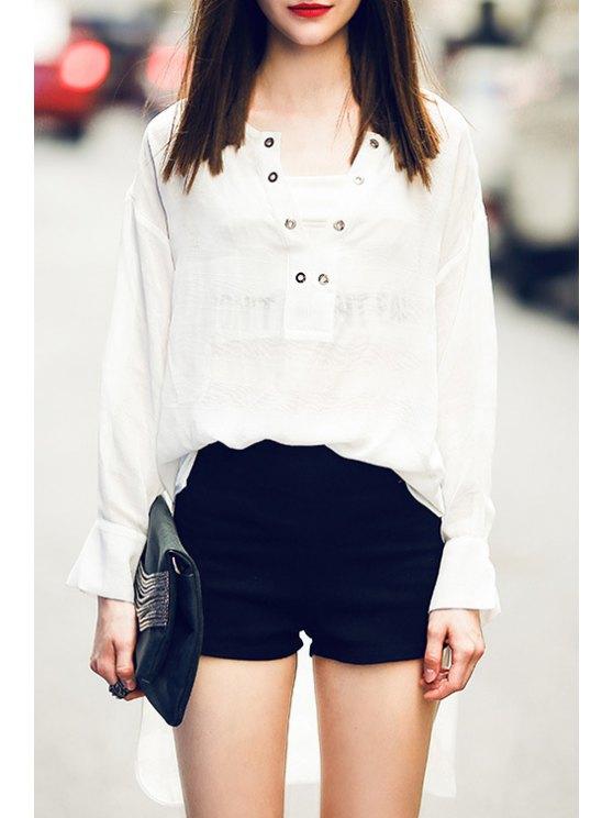 fancy White High Low V Neck Long Sleeve Blouse - WHITE S