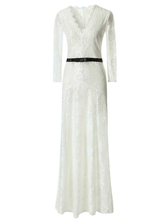 new Lace Plunging Neck Long Sleeve Maxi Dress - WHITE S