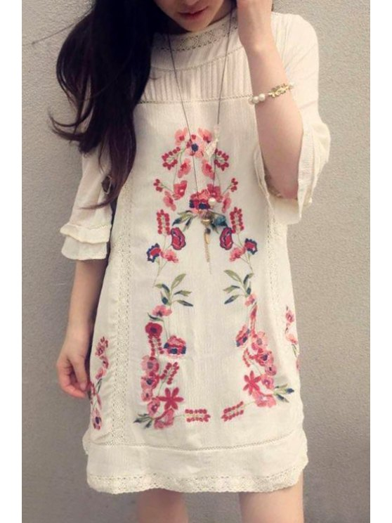 new Half Sleeve Embroidered Dress - OFF-WHITE ONE SIZE(FIT SIZE XS TO M)