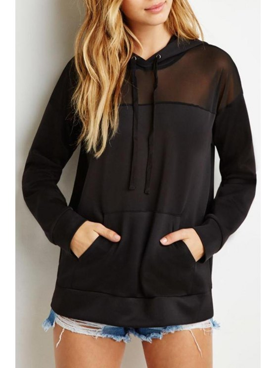 women Voile Spliced Long Sleeves Pocket Black Pullover Hoodie - BLACK XS