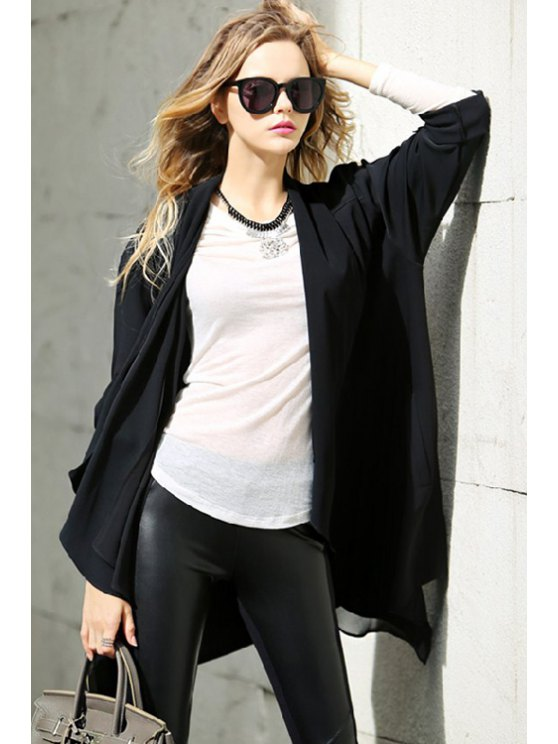 buy Open Front Waterfall Trench Coat - BLACK ONE SIZE(FIT SIZE XS TO M)