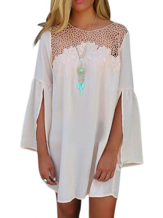 womens Split Sleeve Mesh Design White Dress - WHITE S