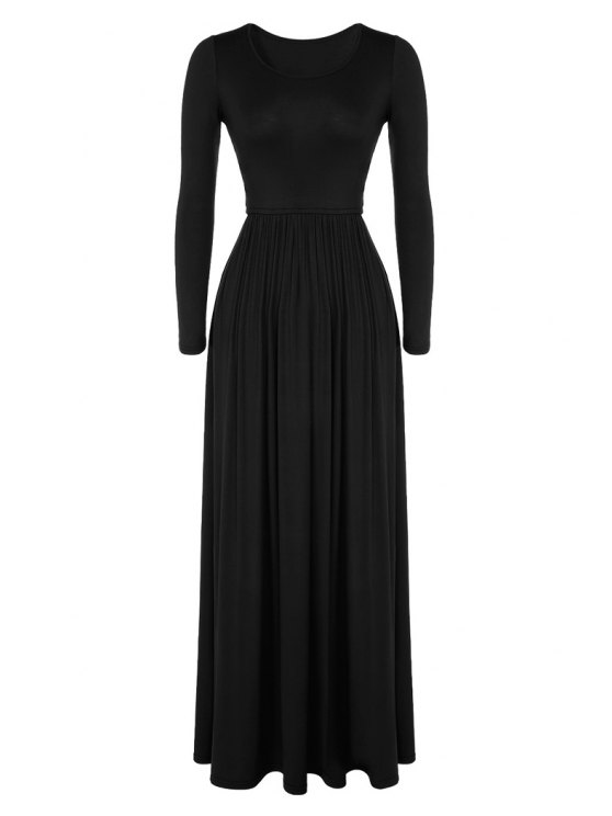 lady Pleated Solid Color Long Dress - BLACK M