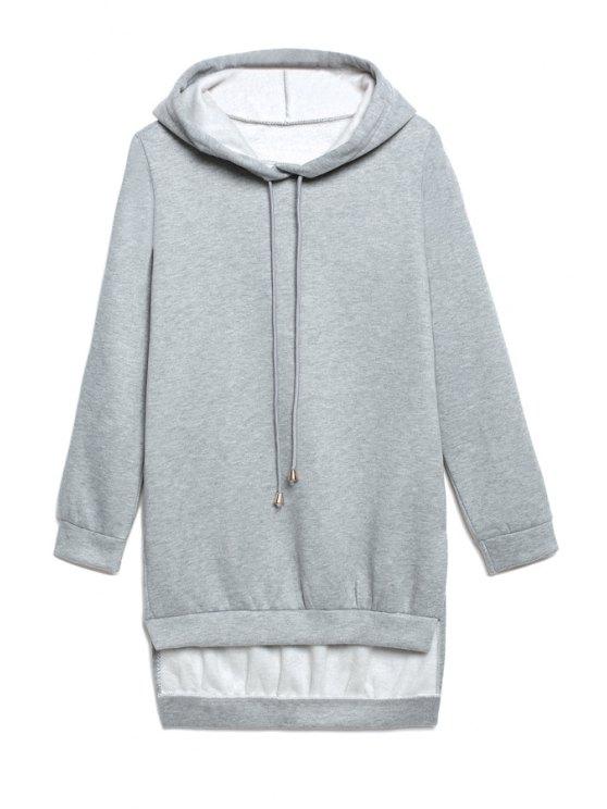 lady Hooded High Low Grey Hoodie - GRAY S