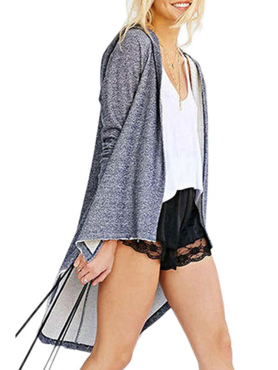 women Hooded High Low Grey Trench Coat - GRAY S
