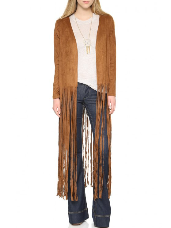 ladies Tassels Spliced Long Sleeve Coat - BROWN S