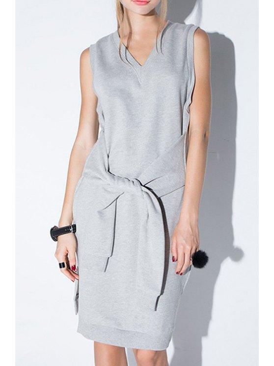 shops Solid Color V-Neck Sleeveless Side Slit Dress - GRAY XS