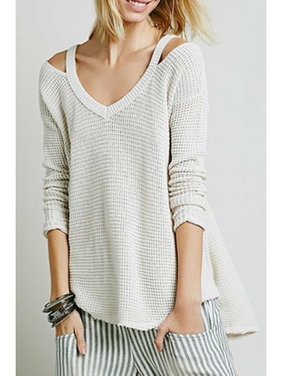 latest V-Neck Cut Out Sweater - WHITE S