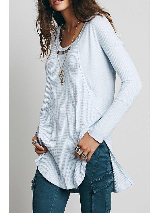 best Round Neck Side Slit T-Shirt - BLUE S