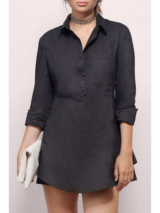 chic Solid Color Irregular Hem Long Sleeves Shirt Dress - BLACK XS