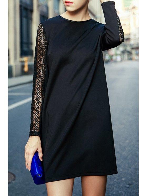 online Black Hollow Round Neck Long Sleeve Dress - BLACK S