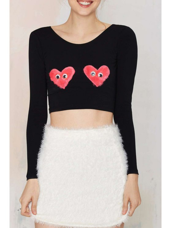 best Heart Pattern Patch Round Collar long Sleeves T-Shirt - BLACK XS