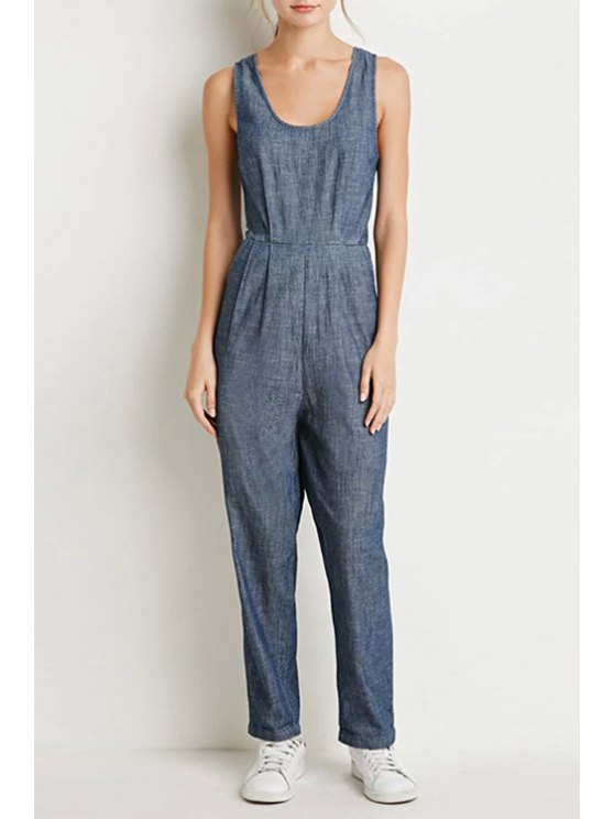 online Pure Color Scoop Neck Sleeveless Jumpsuit - AS THE PICTURE S