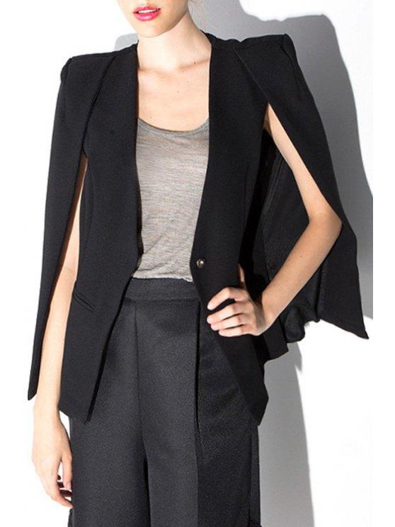 fancy Black Collarless Cape Blazer - BLACK S