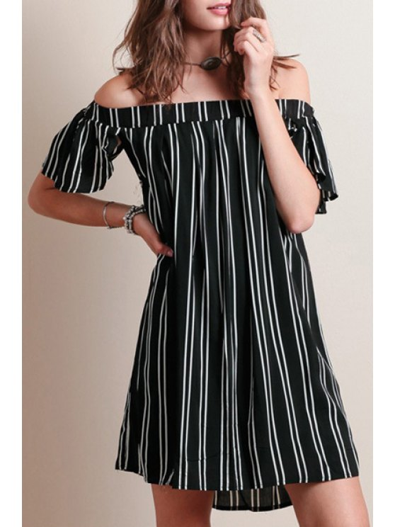 fashion Striped Slash Neck Short Sleeve Dress - BLACK S