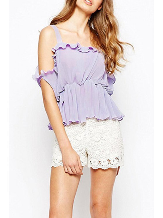 shops Solid Color Slash Neck Spaghetti Strap Chiffon Blouse - PURPLE XS