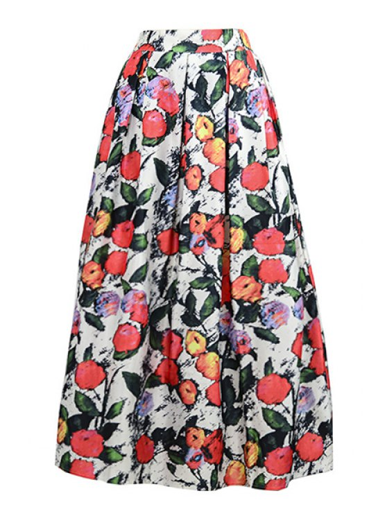 affordable Floral Print Ruffled Long Skirt - WHITE ONE SIZE(FIT SIZE XS TO M)