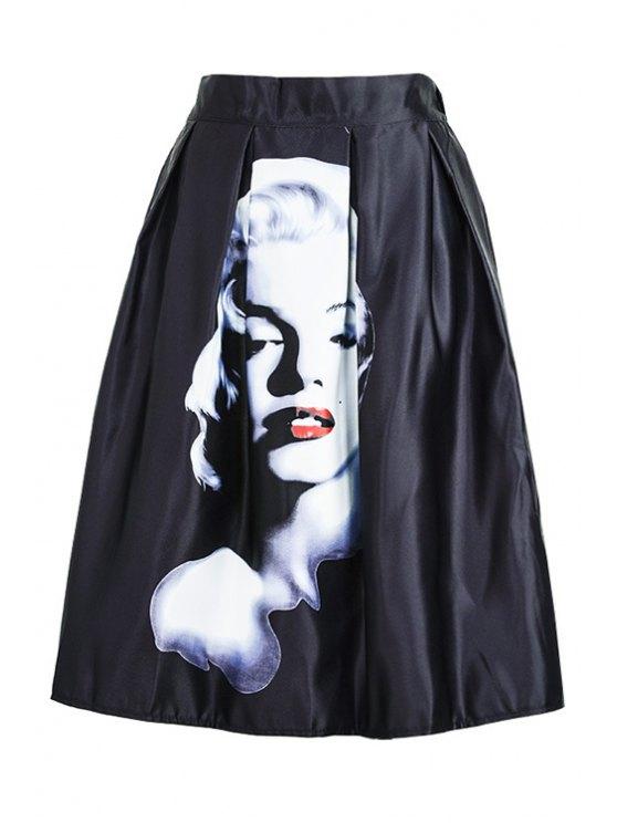 buy Figure Print Ruffled Midi Skirt - BLACK ONE SIZE(FIT SIZE XS TO M)