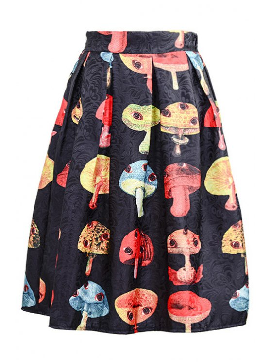 womens Mushroom Print Ruffled Midi Skirt - BLACK ONE SIZE(FIT SIZE XS TO M)