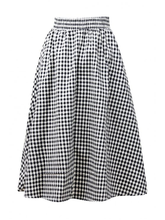 women Gingham Check A-Line Midi Skirt - BLACK ONE SIZE(FIT SIZE XS TO M)