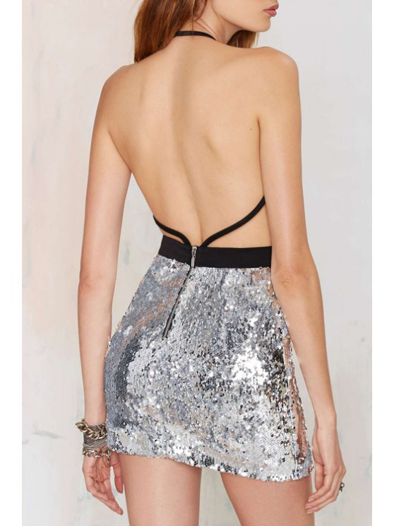 women Backless Sexy Halterneck Sequins Dress - SILVER XS