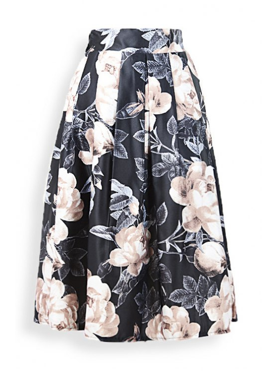 ladies Large Flower Ruffled Midi Skirt - BLACK ONE SIZE(FIT SIZE XS TO M)