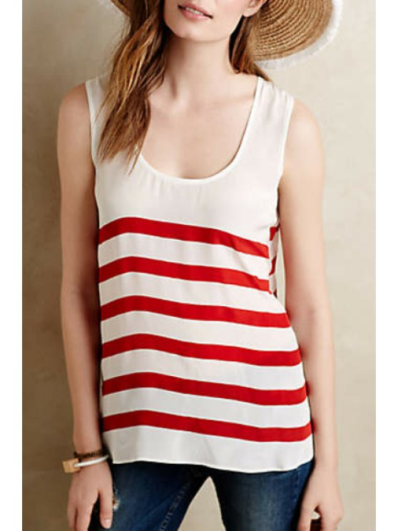 lady Stripe Scoop Neck Lace Up Tank Top - RED WITH WHITE S