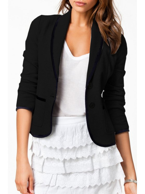 womens Pure Color Turn Down Collar Long Sleeve Blazer - BLACK S