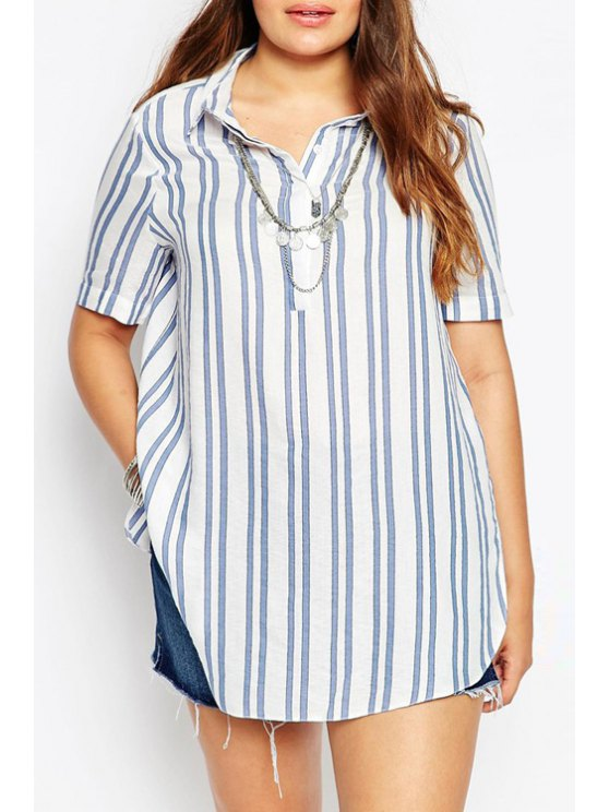 chic Vertical Stripes Plus Size Blouse - WHITE S