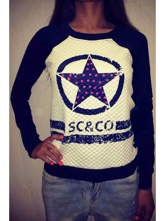 shops Star Print Long Sleeves Sweatshirt - DEEP BLUE S
