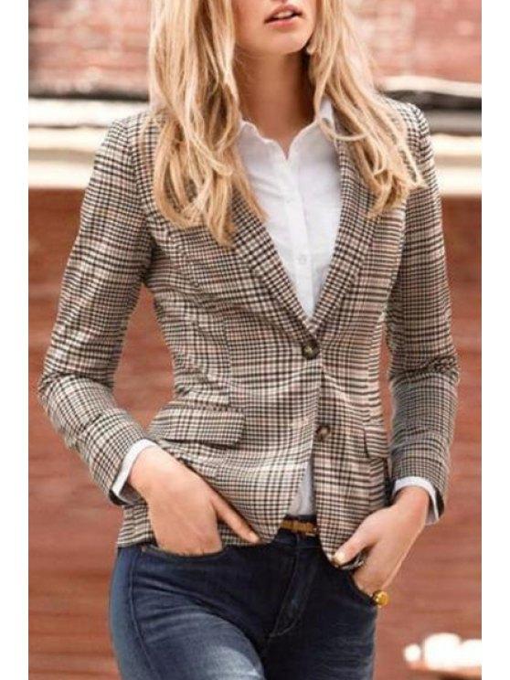 outfits Plaid Pattern Lapel Long Sleeve Blazer - LIGHT KHAKI M
