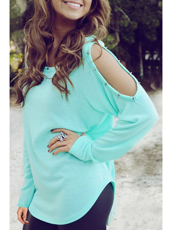 fashion Cut Out Solid Color Round Collar Long Sleeves T-Shirt - LIGHT GREEN S