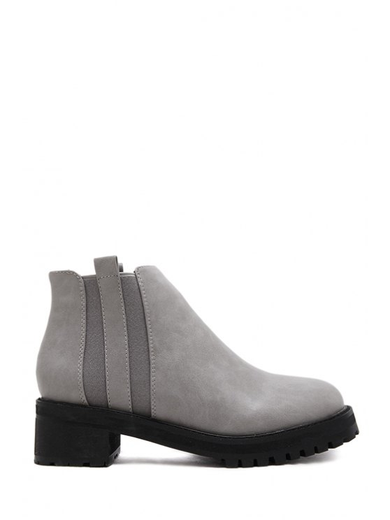 trendy Elastic Stitching Solid Color Ankle Boots - GRAY 35