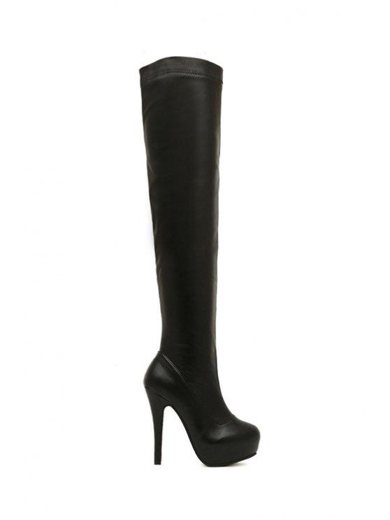 women's Stiletto Heel Platform Black Thigh Boots - BLACK 35