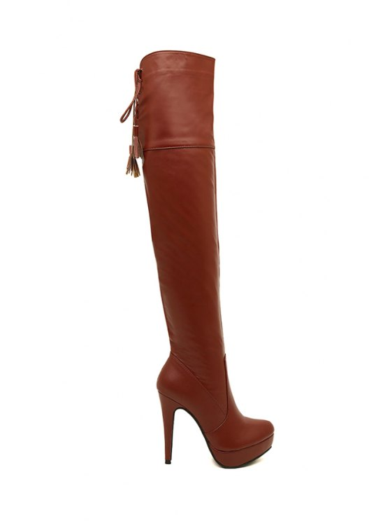 new Lace-Up Platform Tassel Thigh Boots - BROWN 35