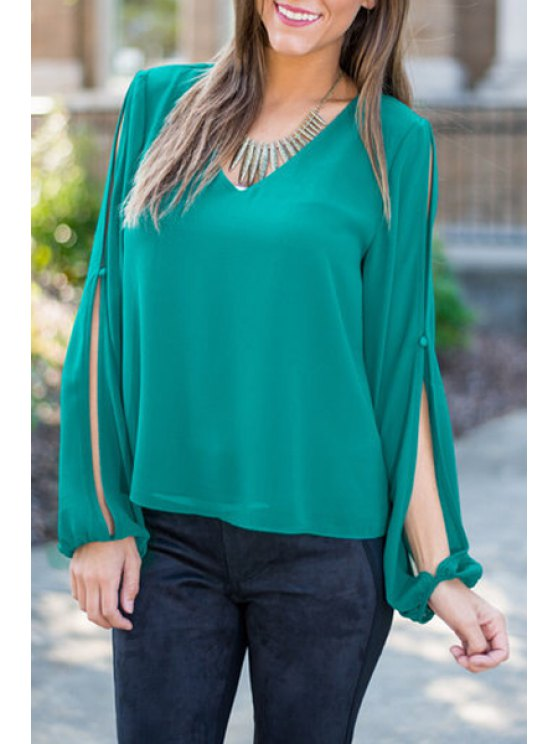 latest Cut Out Pure Color V-Neck Long Sleeves Blouse - GREEN S