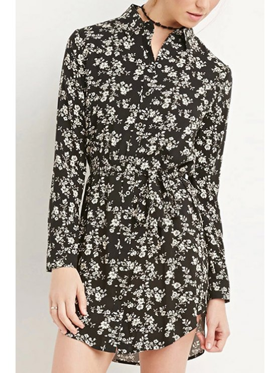 best Long Sleeve Tiny Floral Chiffon Dress - BLACK XS